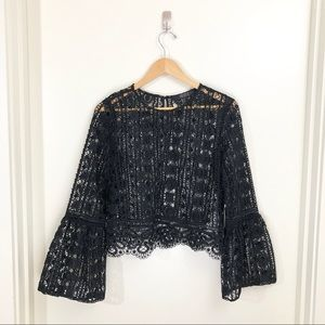 // Forever 21 // Black Lace Top w/ Flared Sleeves